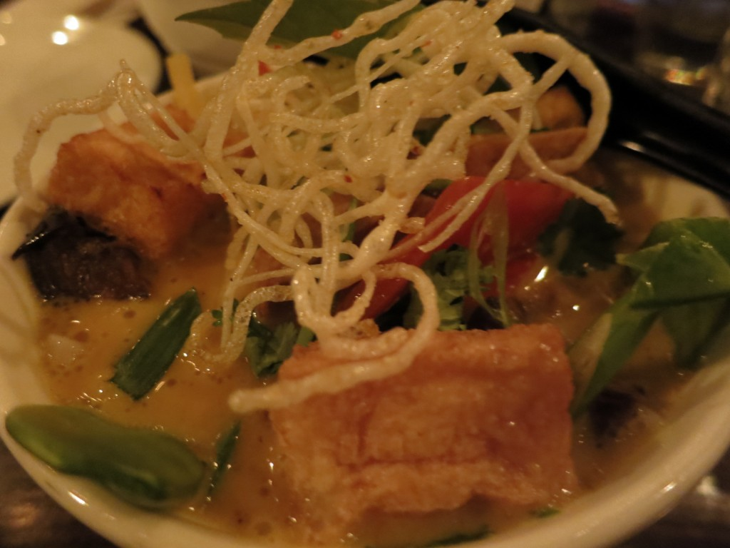 Chicken Hawker Laksa Lemak Spicy Coconut Curry Soup, Rice Noodles, Tofu, Puffs, Snow Peas, Red Pepper, Eggplant, Cilantro