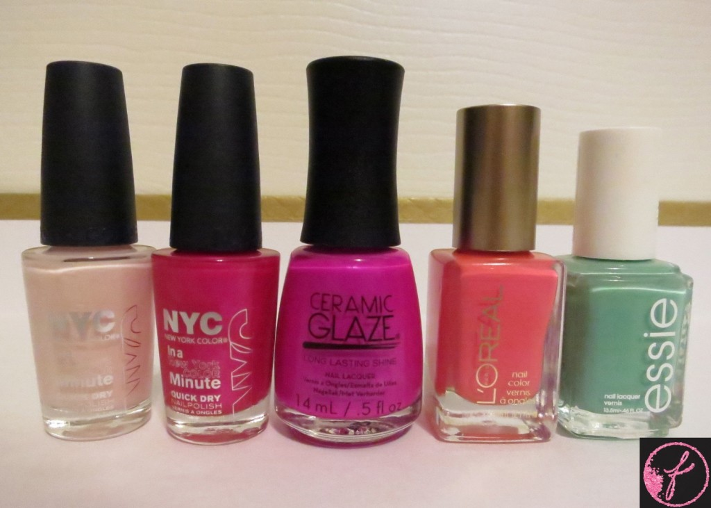 (From Left to Right) NYC IN Prospect Park Bloom, NYC in Midtown, Ceramic Glaze in Exotic Dragon Fruit, L'Oreal in Orange You Jealous?, Essie in Turquoise & Caicos