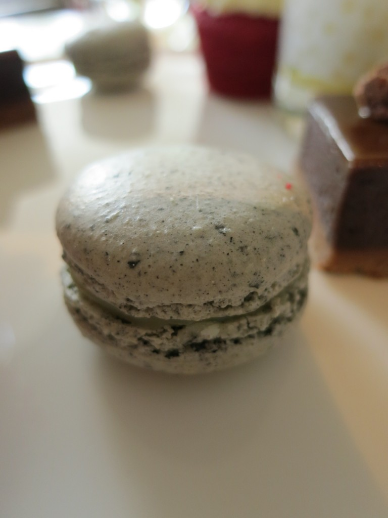 Black Sesame Macaron with White Chocolate Ganache