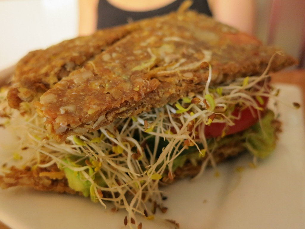 Rawitch Onion bread with guacamole, tomatoes, cucumbers & alfalfa sprouts drizzled with balsamic vinaigrette