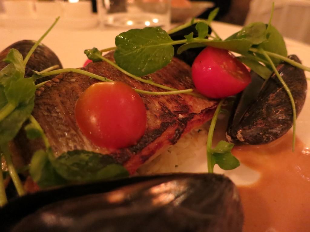 Summerlicious 2012 Mediterranean Sea Bass Prince Edward Island mussels, grilled zucchini, basmati rice, saffron sauce