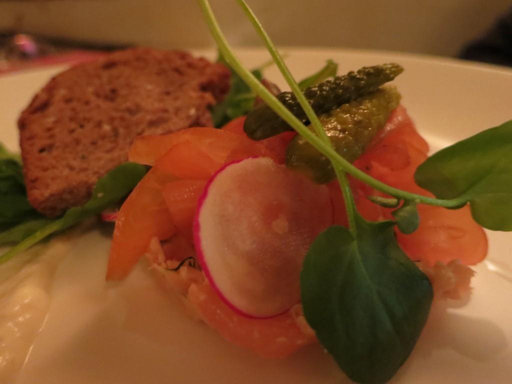 Winterlicious 2012 Smoked Salmon watercress, capers, horseradish crème fraîche, rye bread crostini