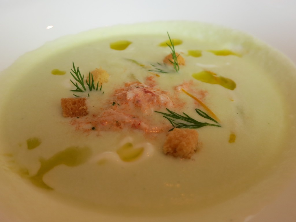 New Farms Chilled Cucumber Soup Yarmouth Lobster, Dill & Hewitt's Buttermilk