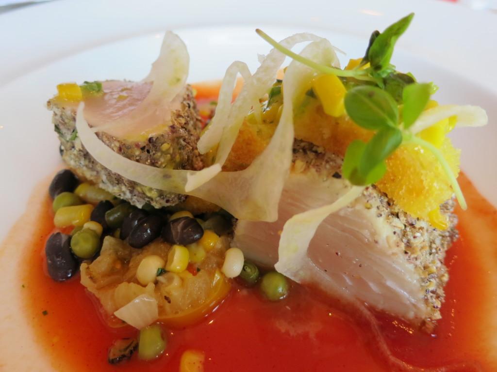 Albacore Tuna Succotash, Corn Jalapeño Chutney & Tomato Fennel Broth