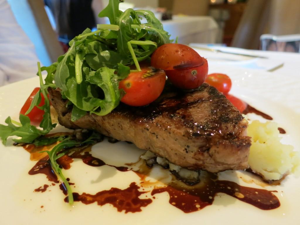 Summerlicious 2013 New York Strip Steak tomato salad, pommes fourchette, tomato molasses, balsamic Bordelaise